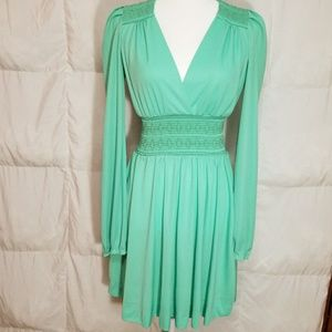 Vintage teal ong sleeve mini dress, size small